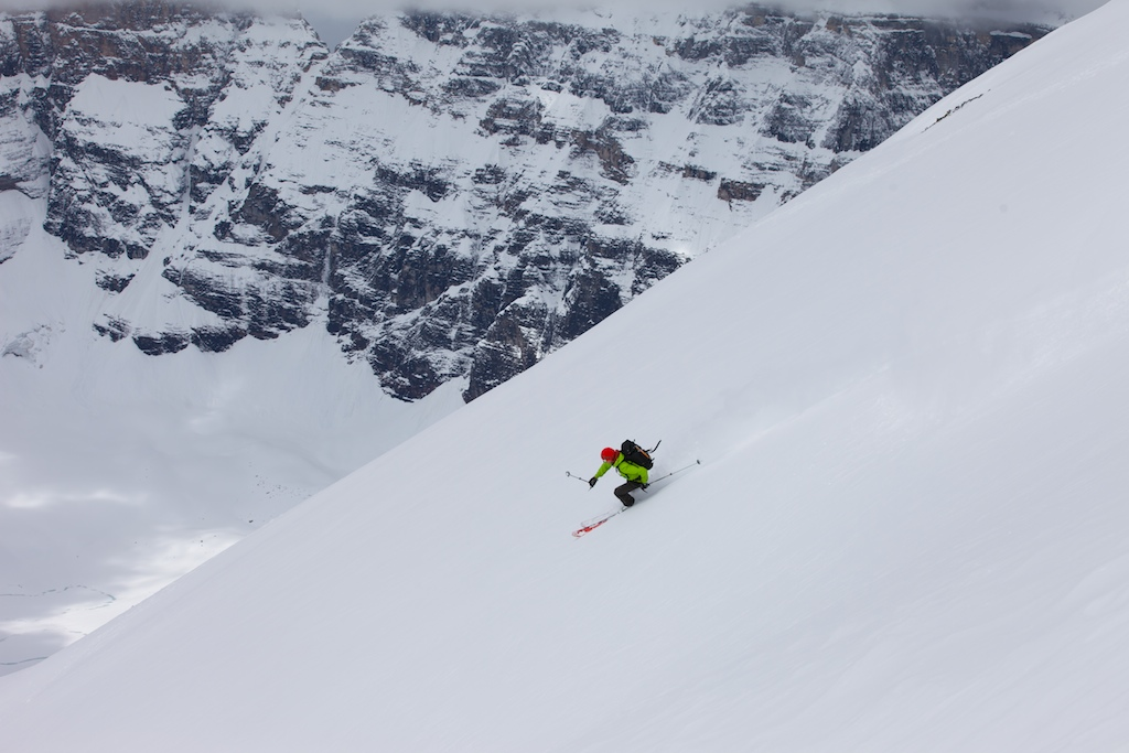 Haley Skiing the South West face of Mt. Temple   Photo by Jon Walsh