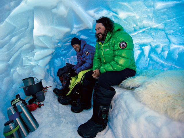 The ice cave at adanced base camp, ground camera man David Reeves and quarter master Chris Rabone share a bit of cave humor.