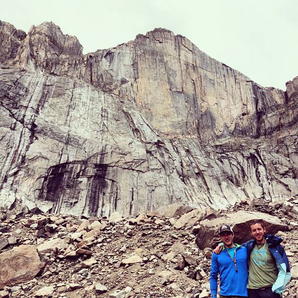 Joe Mills and Tommy Caldwell standing below the Diamond