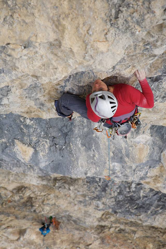 Vikki Weldon in the second crux on the 5.13b Photo Derek Galloway