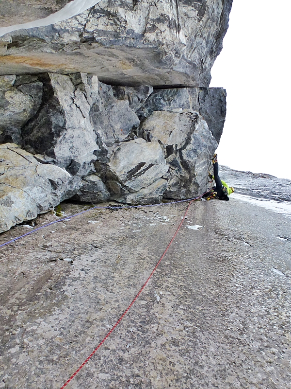 Greg Boswell on the crux M7  Photo Nick Bullock