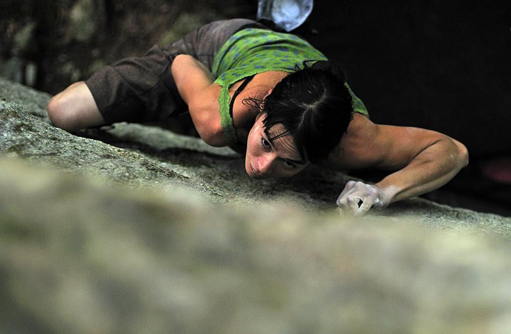 Thomasina Pidgeon pulling down in Squamish. Photo Mike Chapman