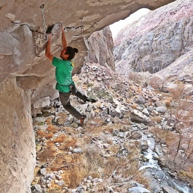 Lonnie Kauk soloing Looney Bing 5.12c  Photo Screen shot from Cody Tuttle's filming of the ascent