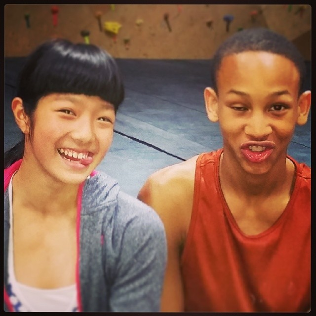 Ashima Shiraishi and Kai Lightner, pre game psych   Photo Lightner's instagram
