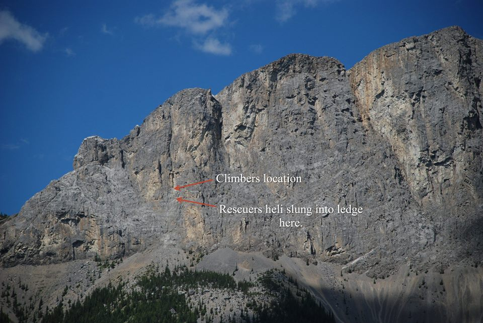This image shows where the climber was injured, directly below where the 2009 rockfall occured  Photo Kananaskis Parks