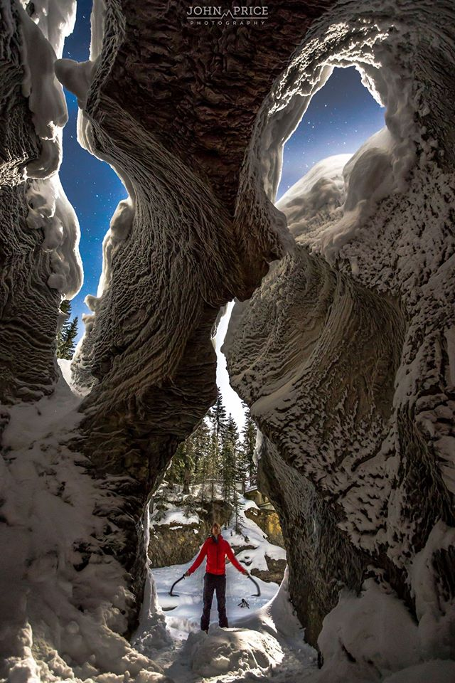 """""""Just spent a few hours shooting at The Natural Bridge in Yoho National Park with Paul Zizka Photography and Andrew Caitens Photography. It has to be one of the most surreal and otherworldly places I have ever stepped into. While water rushes beneath the frozen floor on which you stand, beautiful, alien like rock features twist and arch their way above you creating incredible shapes. We experimented with a few ideas, including self portraits."""""""