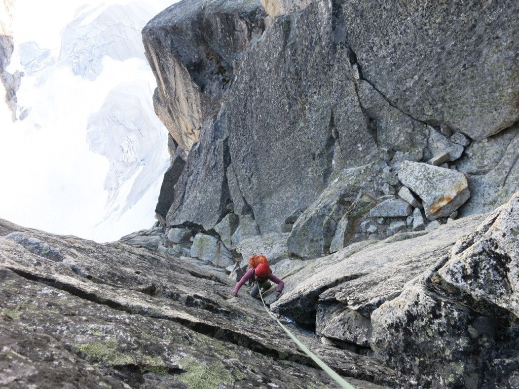 Kate Rutherford follows the final pitch of State of Wonder directly to the summit of Wall Tower.