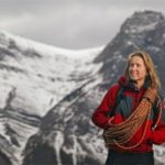 Canmore-04/20/05-Sharon Wood of Adventure Dynamics Inc. was the first North American woman to climb Everest.  She is featured outside her Canmore home with the Mount Lawrence Grassi range in the background. Photo by Mikael Kjellstrom (Kjellström)/Calgary Herald (For Centennial/Mountains story by Val Fortney)