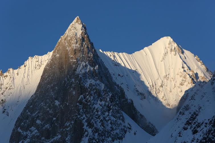 The summit on the right is Gasherbrum VI. Photo Ralf Dujmovits.