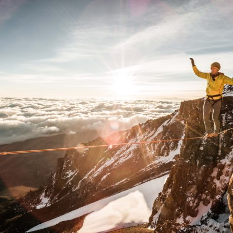Siegrist on the Kilimanjaro highline. Photo Thomas Senf