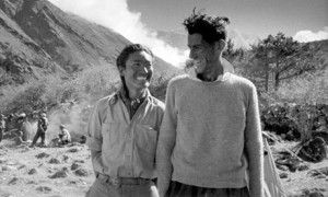 Tenzing and Hillary after the first ascent of Everest. According to Ed Douglas, Sherpas are trying to reverse a 200 year-old history of marginalization.