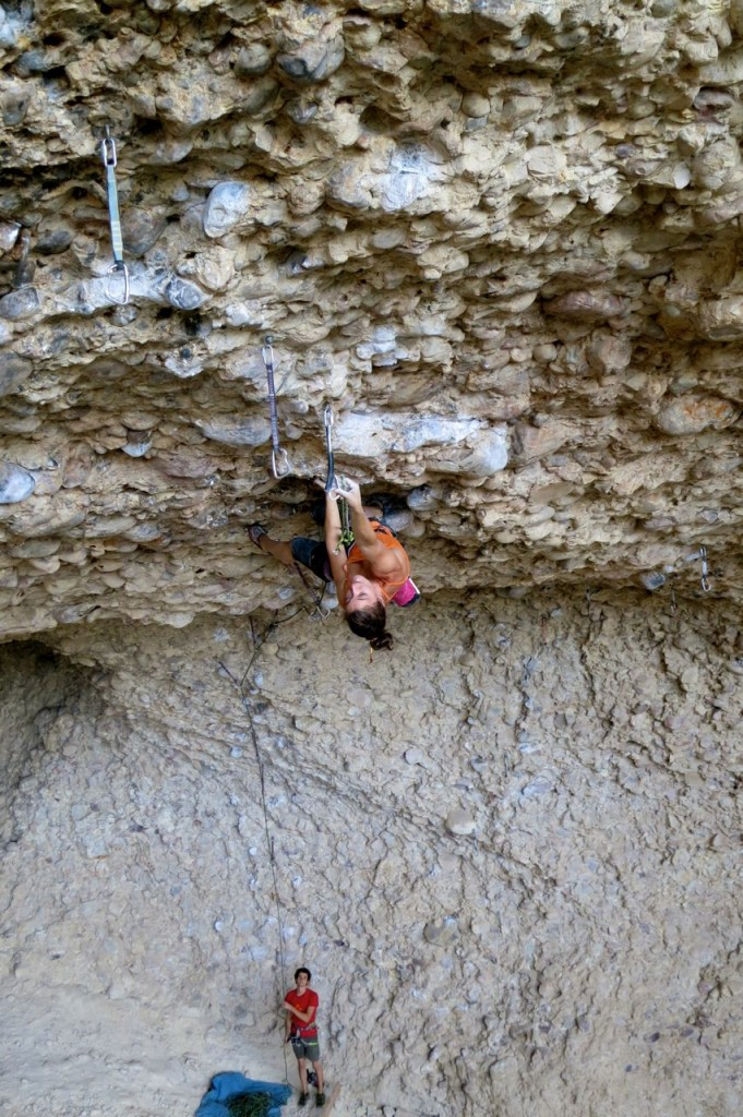 Vikki on Millennium, 5.13d, which leads into Eulogy, 5.14a/b