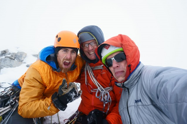 Pullan, Elzinga and Welsted on the top of Aye West for its first ascent Photo Ian Welsted
