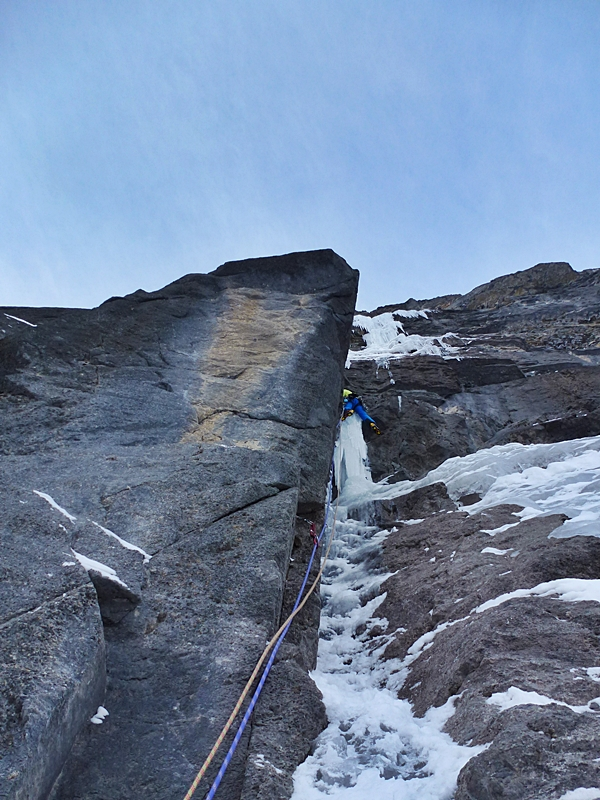 """Greg Boswell climbing pitch five. There should have been more ice! We met Jon Walsh at the base of the route, he was climbing something else with his partner Michelle. He said he thought the top pitch could be thin and spicy without the normal ice. He wasn't wrong."" Photo Nick Bullock"