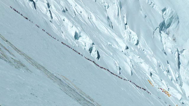 Climbers on Mount Everest  Photo Outside Online