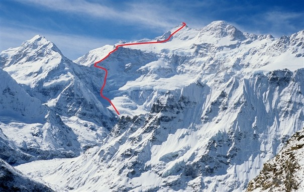 The northwest face of Kangchenjunga Marked is the line completed to the main summit on the May 19 by Denis Urubko   Photo Lindsay Griffin