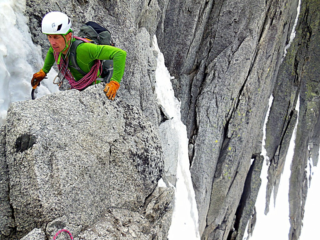 Will Woodhead coming up more great climbing on the Frendo Spur
