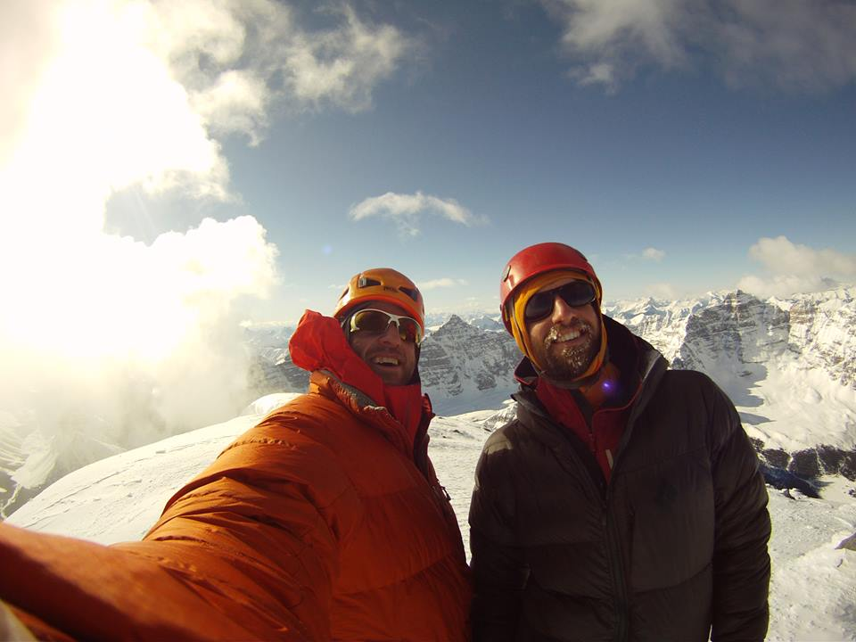 Skiy DeTray and Alik Berg on the summit of Mount Temple  Photo Skiy DeTray