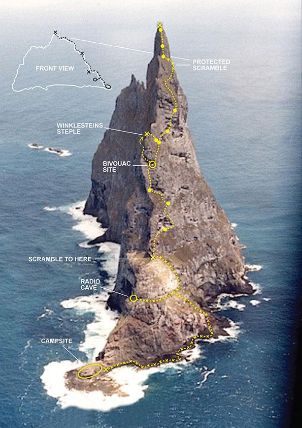 Ball's Pyramid route Topo by Bryden Allen