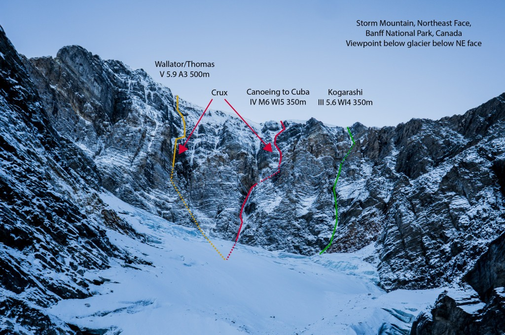 Mount Storm's north face with the 1988 route, Canoeing to Cuba and Kogarashi.  Photo and Topo by Maarten Van Haeren