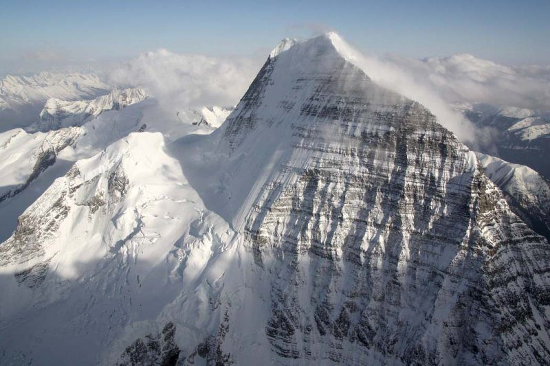 Mount Robson's North Face on the left and Emperor Face on the right. Photo John Scurlock