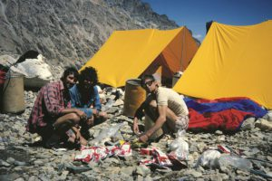 John Porter, Alex MacIntyre and Voytek Kurtyka at Bandaka base camp © John Porter